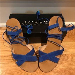 J.Crew Blue Suede Pom-Pom Sandals